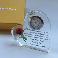 Custom Heart Shape Crystal Clock Wedding