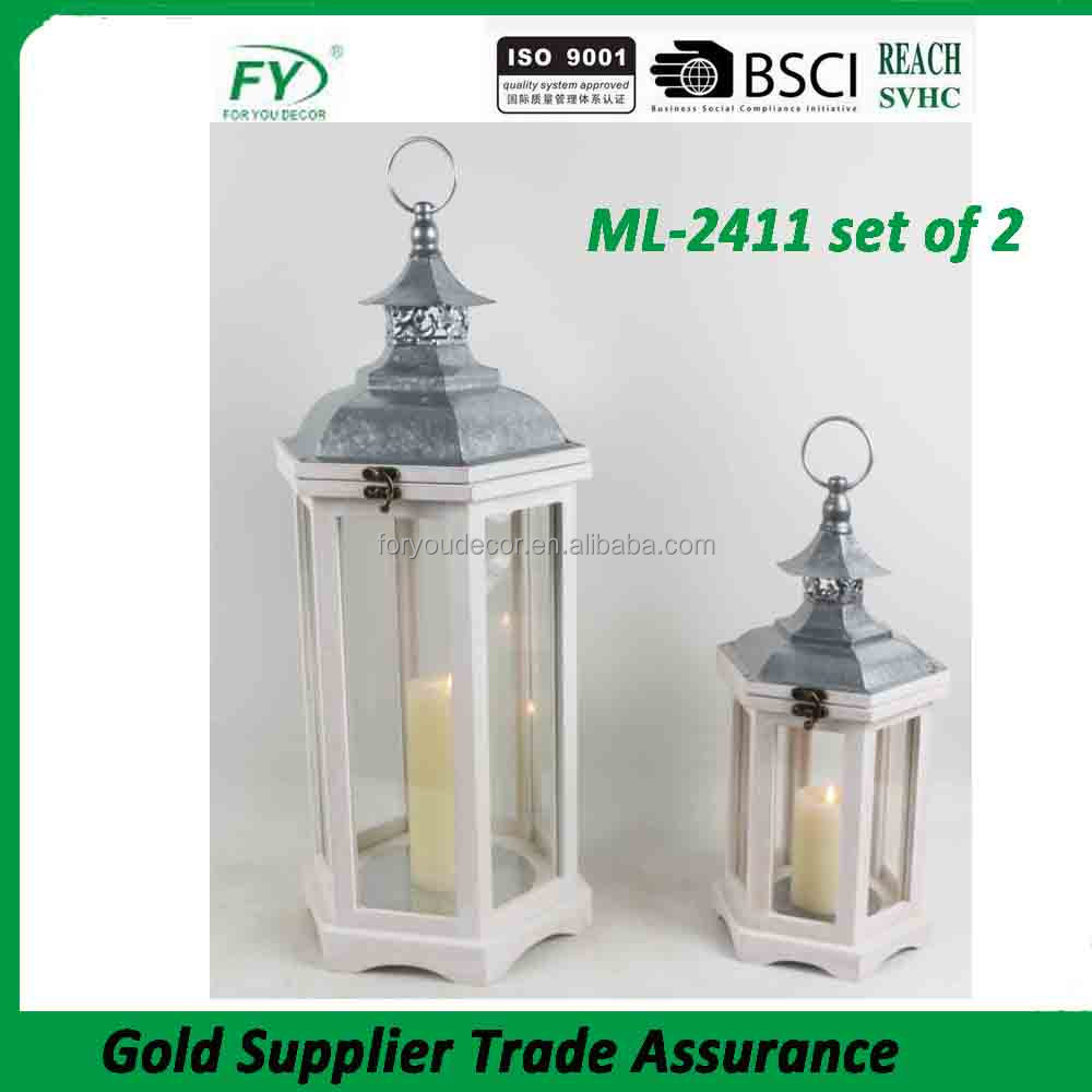 ML-2411 set of 2 garden hanging white hurricane wooden candle lantern festival