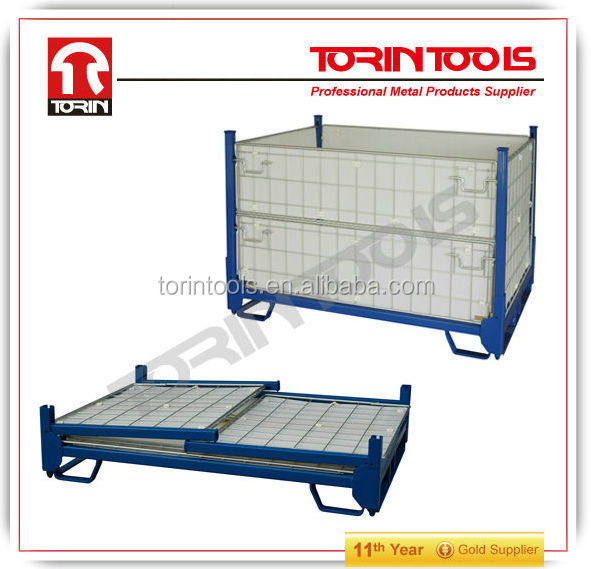 Warehouse Collapsible Folding Metal Storage Cages With Wheels