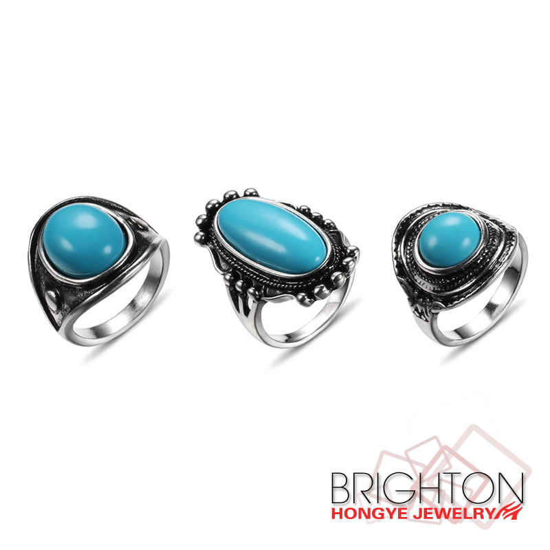 Simple Resin Turquoise Ring JC-4869A-3340