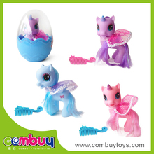 Hot sale cartoon eggs set kids play mini rubber toy horse