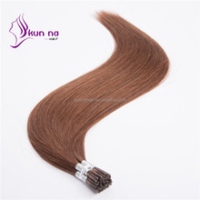 100% unprocessed peruvian virgin hair silky straight I tip human hair extension