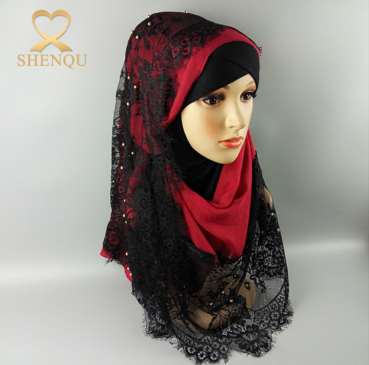 Fashion design Arab women muslim hijab scarf islamic lace hijab