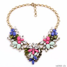 2015 Yiwu Summer Statement Colorful Chunky Beads Collar Fake Necklace Ladies Jewellery
