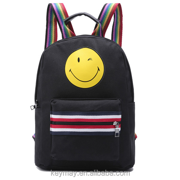 Emoji back pack logo print canvas rainbow strap cute backpacks