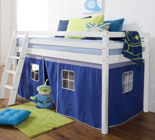 cabin bed in white with tent
