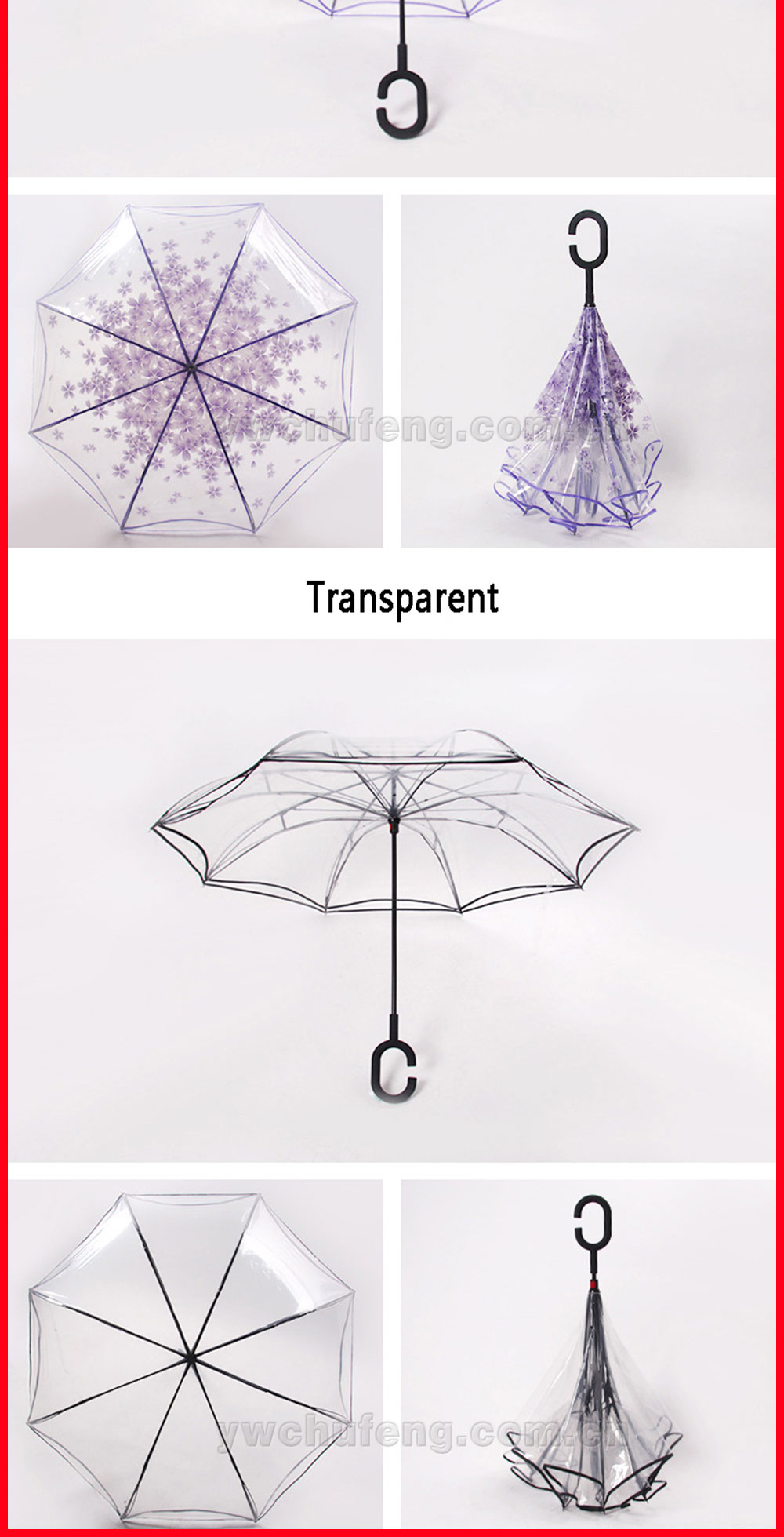 Magic Umbrella Inverted Upside Down Reverse Umbrella Transparent Sakura Parasol Flowers Pattern Umbrella