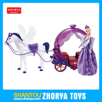 Glitzy princess figures kids BO cartoon horse carriage toys electric music royal horse carriage