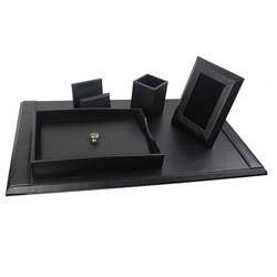 Leather Office Multifunctional Desk Organizer Storage Box , PU Desktop Organizer
