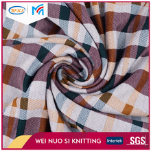 China wholesale cheap plaid knitting printing interlock double jersey fabric
