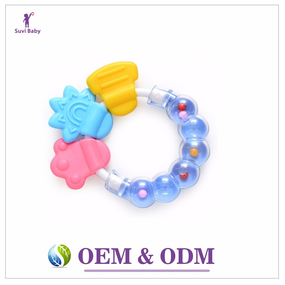 Free sample Silicon Baby Teether Massager Infant Training Tooth Cute Toddler Bell Toys