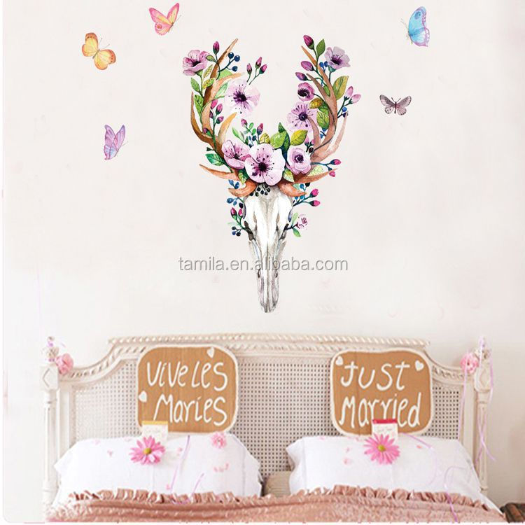 2016 New Design Geometric Deer Head Wall Sticker Geometry Animal Series Decals 3D Vinyl Wall Art Custom Home Decor