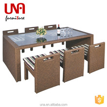 Una outdoor rattan glass top tables and chairs wicker material metal dining furniture
