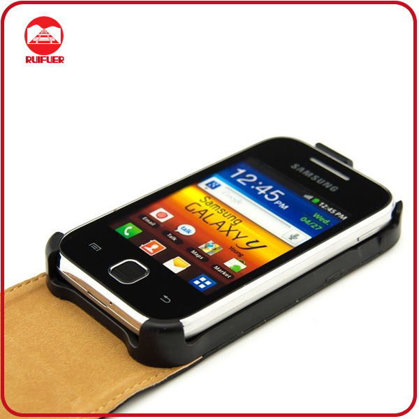 Wholesale Classic Black Leather Flip Mobile Phone Covers for Samsung S5360 Galaxy Y