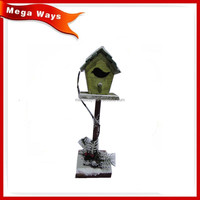 Handmake bird house with stand wooden bird house model