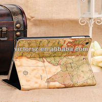 New Leather World Map Design Stand Pouch Case for iPad Mini
