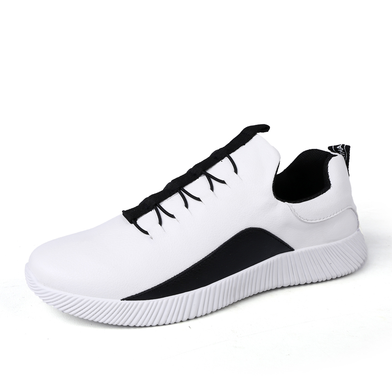 2018 new arrival wholesale in stock low cut slip-on fashion black white color china men causal sports PU leather flat shoes