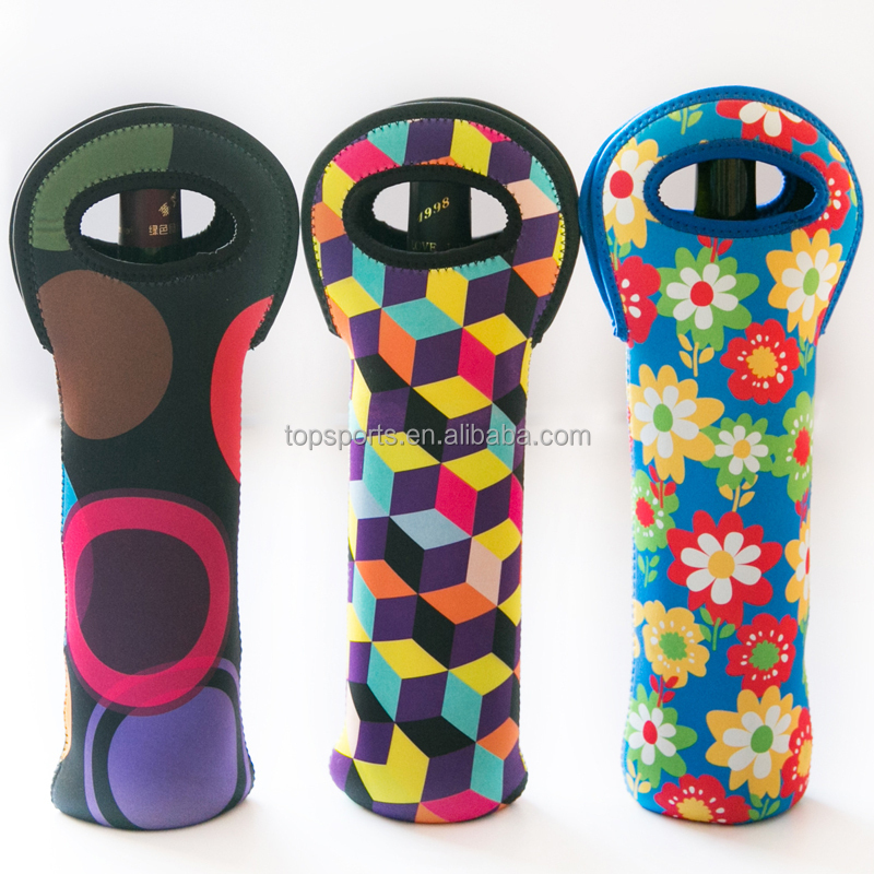 2016 Fashionable insulated foldable neoprene single wine bottle cooler/holder with logo printing
