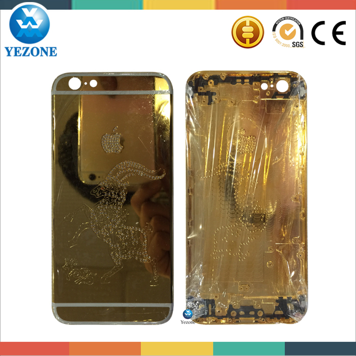 Hot Sell Special Design Gold Housing For Iphone 6 Plus 24k Gold Back Cover, For Iphone 6+ 24k Gold Housing