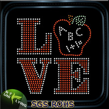 Love Apple Hot Fix Rhinestone Iron On Transfers