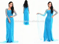 Instyles Adult Ladies Long Blue Dress Elsa Costume Fancy Dress Costume