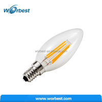 4Watt E12 LED Filament Candelabra Light Bulb Chandelier Torpedo Shape Clear Glass Cover Warm White 40w Incandescent Replacement