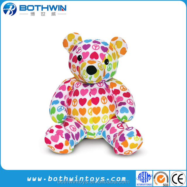 Stuffed Animal Patterned coloured teddy bear toy
