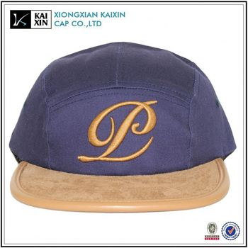 high quality embroidery logo 5 panel camp hat with suede brim