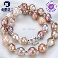 10-11mm round and baroque freshwater Edison pearl necklace jewerly