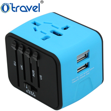Universal plugs UK EU US AUS business coporate gifts travel adapter with 2 USB business gift set promotional gift item