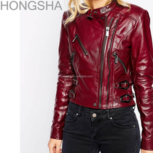 Harley Leather Jackets Red Cropped Cut Motorbike Jacket HSC1330