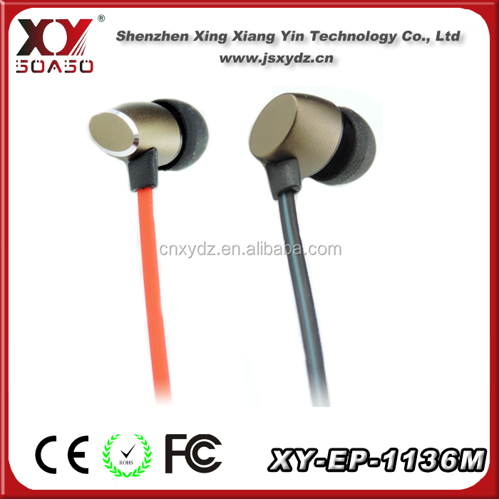 Flat cable Stereo mobile earphone with mic and remote control for all cell phones