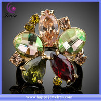 Top quality Beautiful Gold Jewelry with Colorful Crystal 18K Gold Plated Ring (XR036)