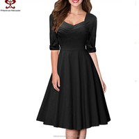 Europe America Autumn Winter V-Neck Half Sleeve Winter Fashion Party Dress For Girls