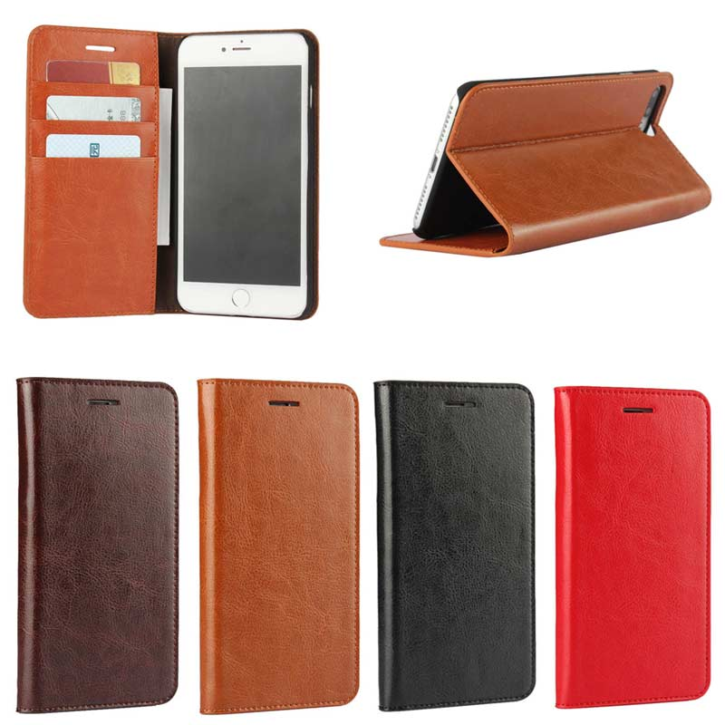 2017 Hot Selling Crazy Horse Pattern Oil Side Genuine Leather Wallet Case for iPhone 7 Plus