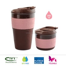Collapsible silicone coffee cup 350ML Travel Mug Foldable Tea Cup for Traveling