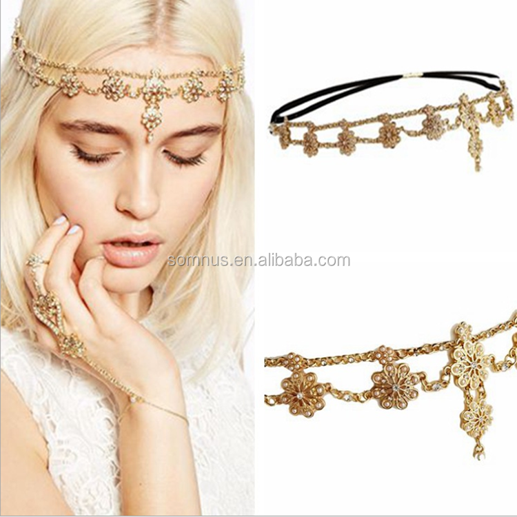 Custom promotional metal headwear rhinestone flower headband