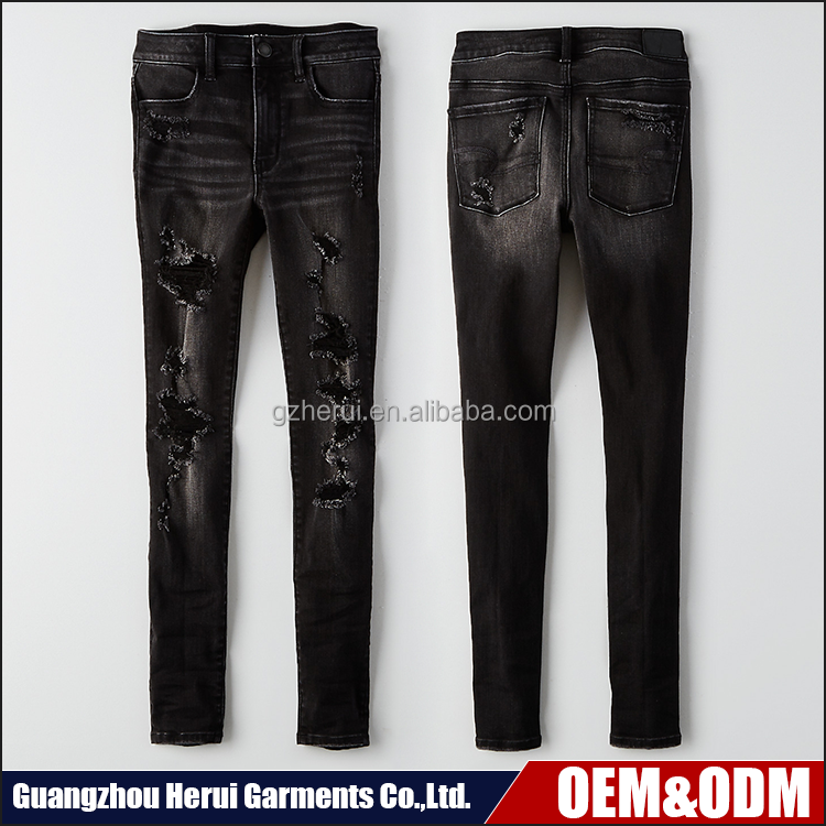 Top Design Brand Ladies Black Ripped Jeans Pants China Wholesale Custom Women Skinny Denim Jeans For Sale