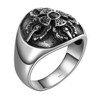 Tryme Brand Euorpean Style Men Rings 316L Stainless Steel Jewelry Men Rings Gothic Round Flower Vampire Punk Vintage Men Rings