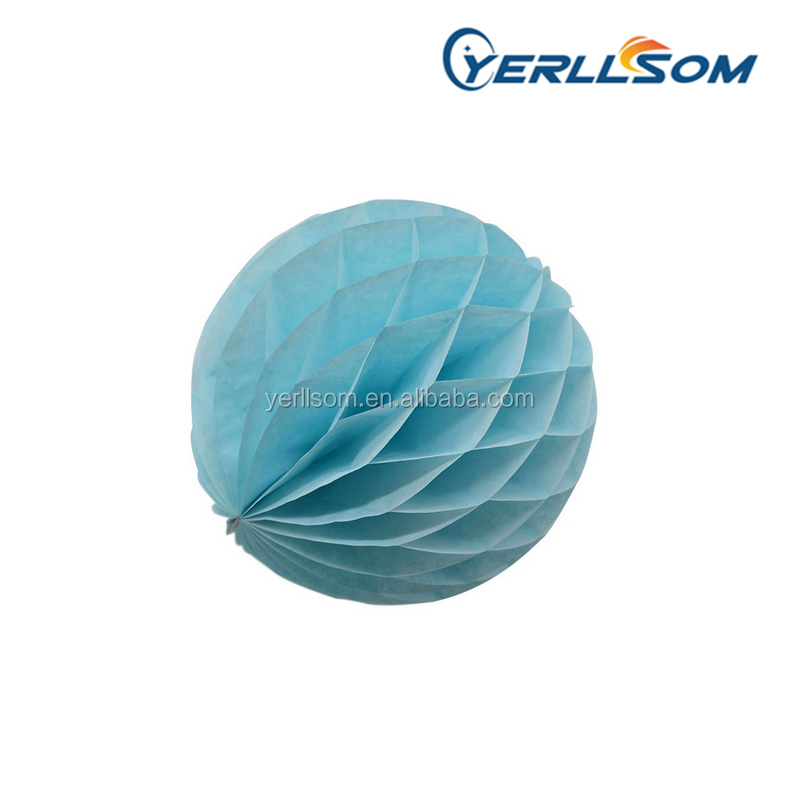 Hot Selling 6inches chinese Baby Blue Tissue Paper Honeycomb lanterns For Christmas Decoration <strong>H001</strong>