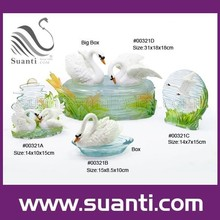 New products decorative resin white swan table decoration