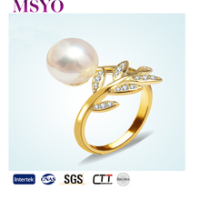 MSYO brand Korean latest gold flower women pakistani wedding ring designs for couples pearl zircon gold ring