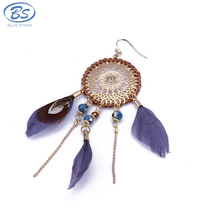 MBE015 bohemian earrings tribal wooden african beaded hawaii tassel dream catcher peacock feather earrings women jewelry