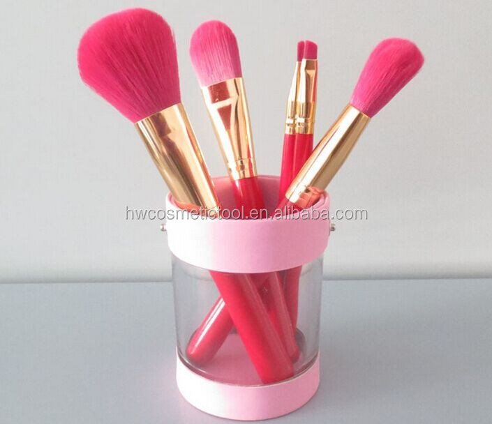 Girl 5pcs makeup brush cup holder in PVC leather