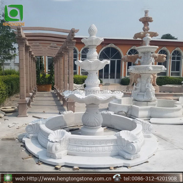 3 Tier Outdoor White Marble Garden Water Fountain