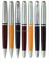 advertising logo engrave heavy metal twist leather ball pen