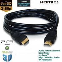 1.8M OD5.5MM 2160P HDMI Cable 2.0 V2.0 for 3D HDTV with Ethernet 24K Gold Plated 4K X 2K
