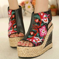 2014 the new Waterproof wedge heels sexy fish mouth Embroidered lady sandals