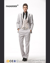 2017 high quality 3 piece latest wedding wool white men suit