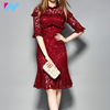 wholesale 2017 dress women summer Spring high quality fashion elegant knee length half sleeve slim red lace dress